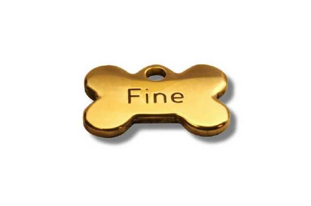 Hundemarke mit Gravur Farbe Gold